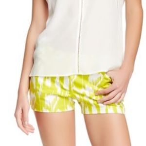 Trina Turk shorts lime green white ikat Myrta
